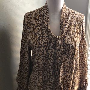 Cats and Kittens! New Silk Cheetah Blouse Med bow